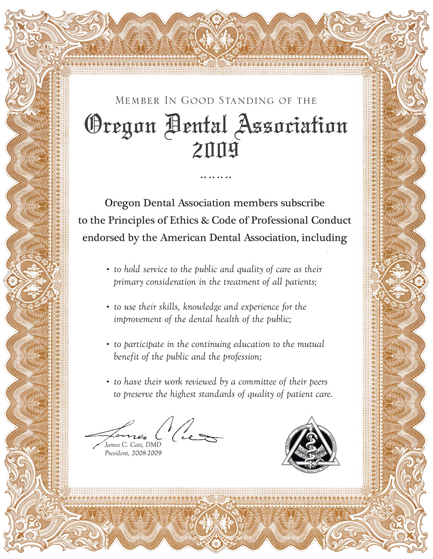 Oregon Dental Association - Good Standing